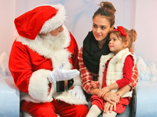 child, christmas, jessica alba, new year, red, santa claus, sweet