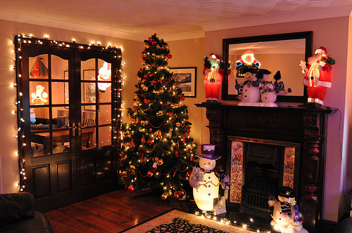 christmas, christmas tree, decorations, festive, house