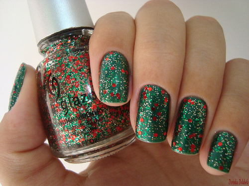 christmas, cute, glitter, nail art, nail polish