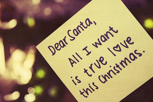 christmas, note, santa, text, true love