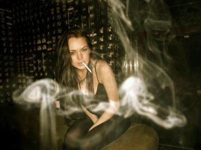 cigarette, girl, lindsay lohan, pretty, rock, smoke