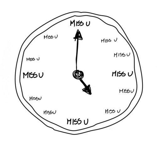 clock, drawing, i miss you, miss, miss u