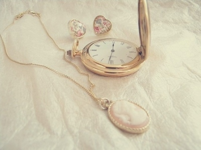 clock, fashion, heart, jewelry, lovely, necklace, vintage