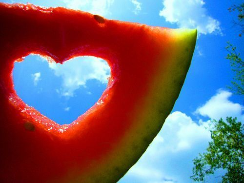 clouds, creative, fruit, heart, nature