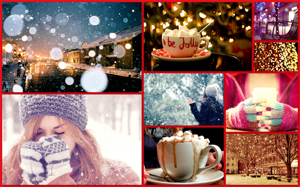 collage, hot chocolate, jolly, mittens, snow