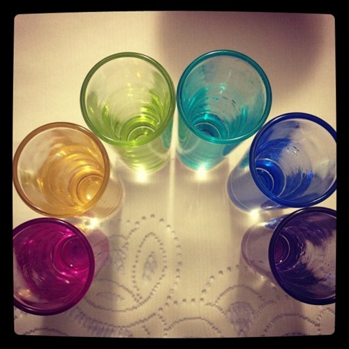color, iphone, iphone4, iphoneography, photography, rainbow, shot glasses, shots