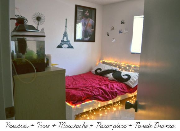 colors, cool, cute, heart, light, lindo, love, luzes, moustache, pompom, room