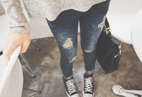 White Converse amp jeans