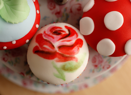 cupcake, cute, desserts, flower, food, kawaii, red, rose, sweets, treats