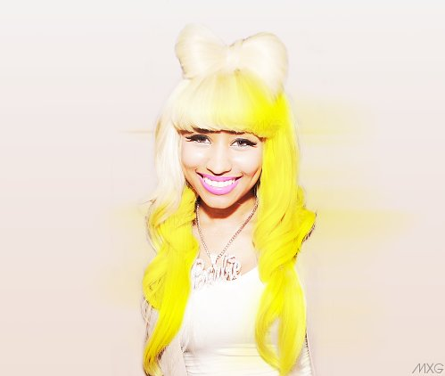 cute, dimples, hair bow, hair dye, nicki minaj, style