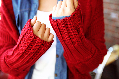 cute, fashion, kfashion, lovely, red, sweater, winter