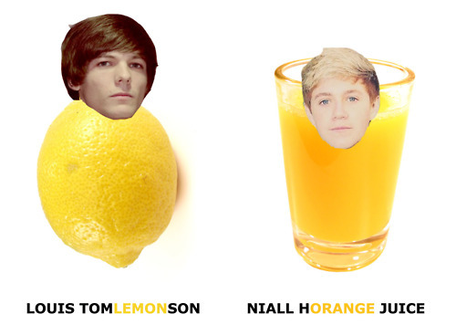 cute, food, fruit, juice, lemon, lol, louis tomlinson, niall horan, nialler, one direction, orange, yellow