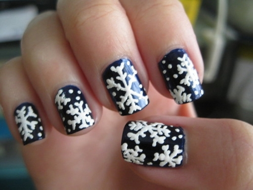 cute, nail art, nail polish, nails, snow flakes