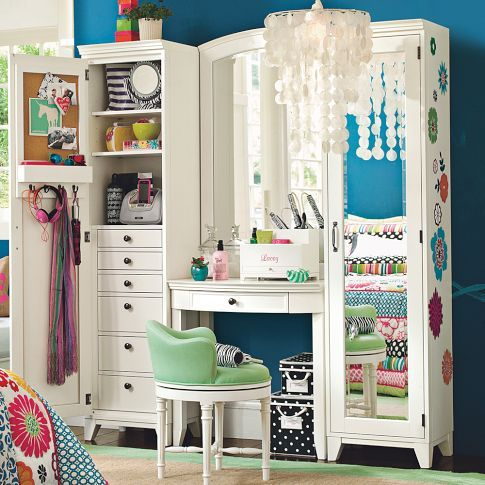 cute, pbteen, room, storage, vanity