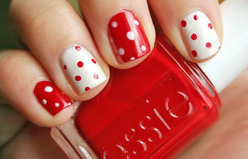 dots, essie, nail polish, polka dots, red
