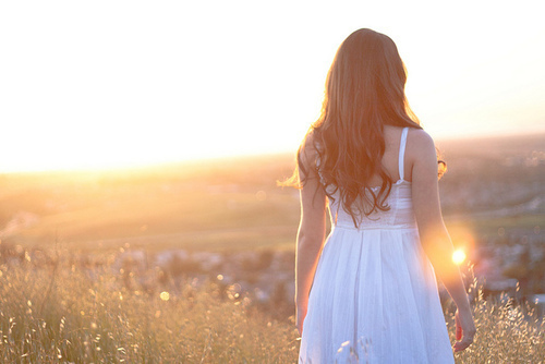 dress, field, girl, hair, photography