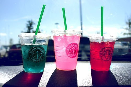 drink, green, pink, red, starbucks