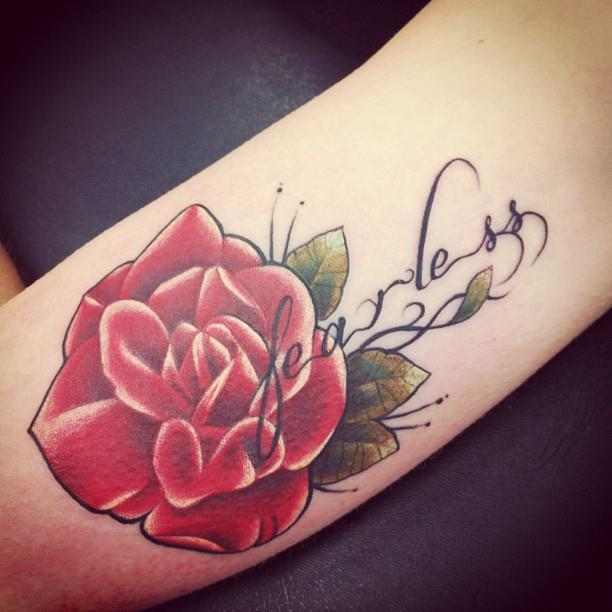 fearless, flower tattoo, jessica devries, my tattoo, red rose