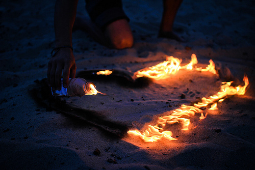 fire, heart, love, sand