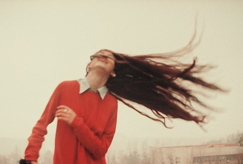 flow, girl, hair, wind, woop