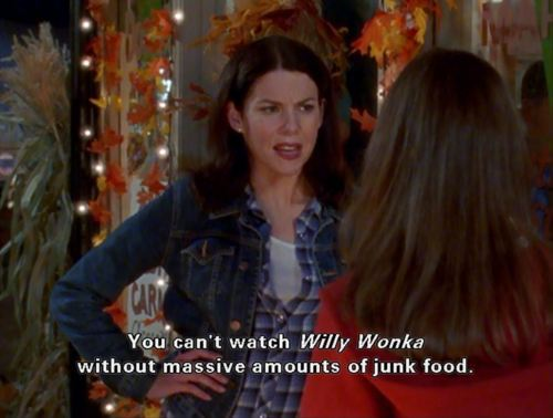 food, funny, gilmore girls, willy wonka