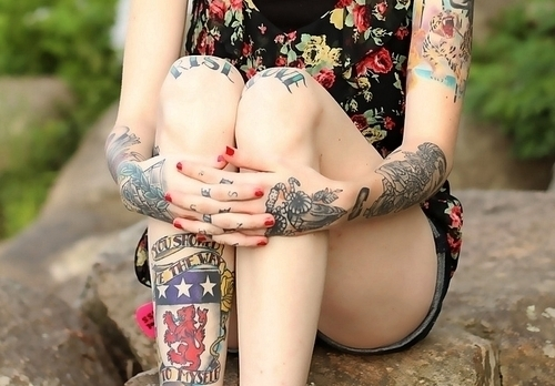 girl, hipster, red nails, tattoo, tattoo girl