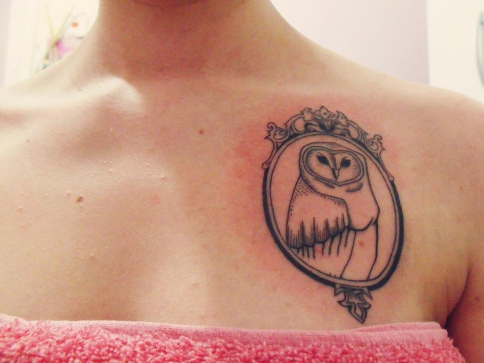 girl, old, owl, owl tattoo, pretty tattoo