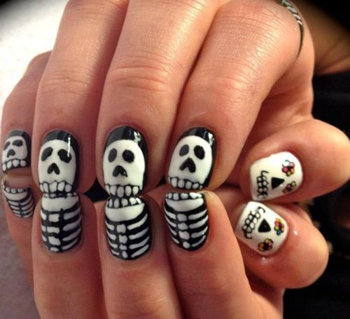 ;>, amazing, black and wite, day of the dead, fucking want, girl, halloween, hands, nail, nail art, nails, photography, picture, skeleton nails, skull, skulls