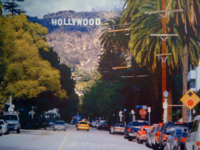 hollywood, palm, stars, street, taxi