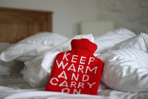 hot water bottle, red, warm