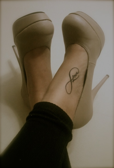 infinity, love, nude heels, platforms, tattoo