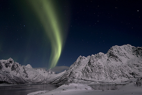 landscape, light, mountains, night, northern lights
