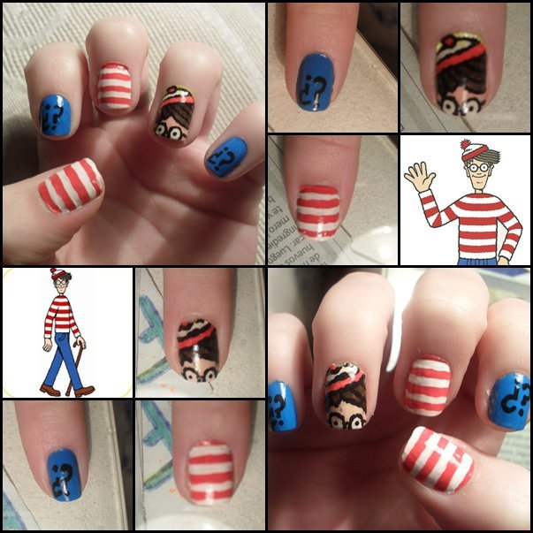 nail art, nails, waldo, wally