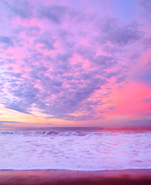 ocean, pink, purple, scenary, sea