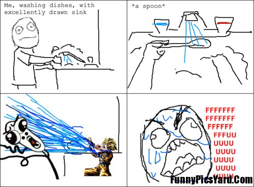 rage comics, rage guy, spoon, washing, water