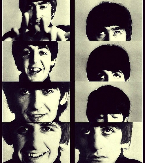 60s, black and white, george harrison, hard days night, john lennon, music, paul mccartney, retro, ringo starr, the beatles, vintage