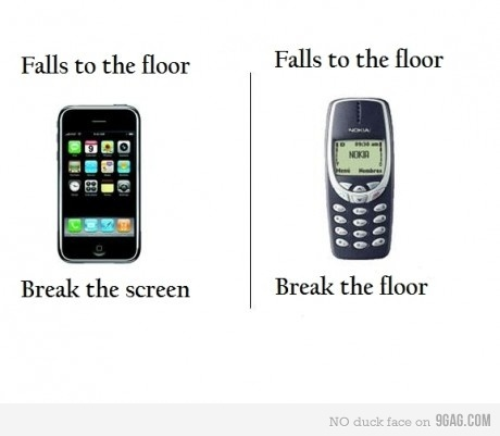 9gag, cellphones, diferences, fuck yeah, iphone, lol, nokia, phone