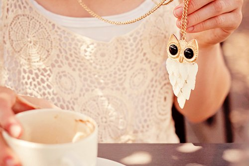 accessories, cute, fashion, girl, necklace, owl, photography