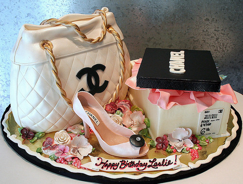 adorable, cake, chain, chanel, flowers, girly, gold, heel, love, pink, purse, shoe