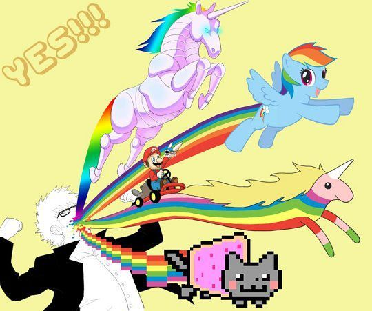 adventure time, awesome, epic, my little pony, nyancat, rainbow unicorn attack, rainbowdash, unicorn