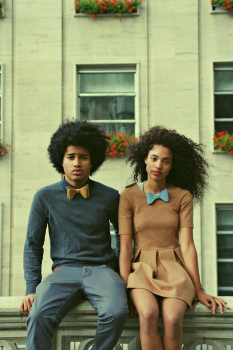 afro, black couple, bow tie, curly hair, fashion