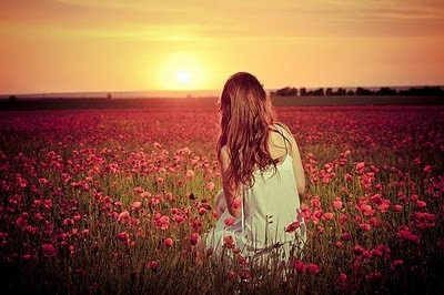 afternoon, alone, beautiful, flowers, freedom, girl, long hair, nature