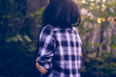 alone, beautiful, checked, checkered, fashion, girl, green, hair, long, long hair, nature, summer, sun, tree, trees