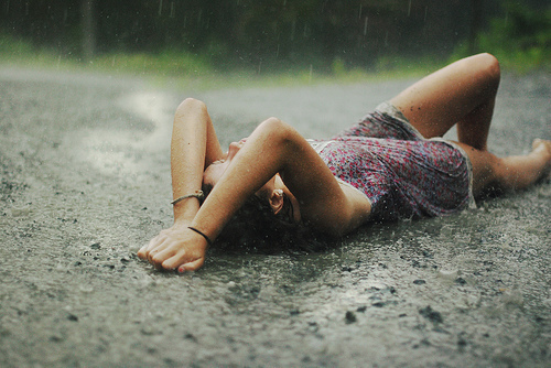 alone, dress, girl, girl alone, outdoors, outside, rain