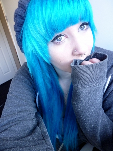 alternative, aquamarine, aquamarine hair, beautiful, bleached hair, blue, blue hair, colored hair, colorful, colorful hair, coloured hair, cute, dye, dyed hair, eyes, girl, gorgeous, hair, hairstyle, hat, makeup, piercings, septum, turquoise