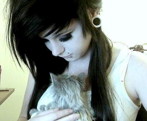 alternative, beautiful, black, black hair, cat