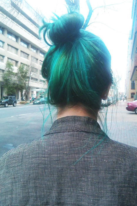 alternative, blue hair, bun, cyber, dyed hair, fashion, girl, green, green hair, hair, hair dye, long hair, lovely, messy bun, metal, rock