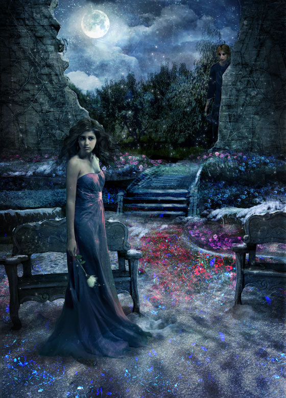 amanda hocking, art, bench, blue, book, clouds, dress, flower, flowers, garden, girl, green, illustration, magical, mist, moon, mystical, nature, painting, path, photographic, purple, red, sky, stairs, trees, trylle, walkway, white