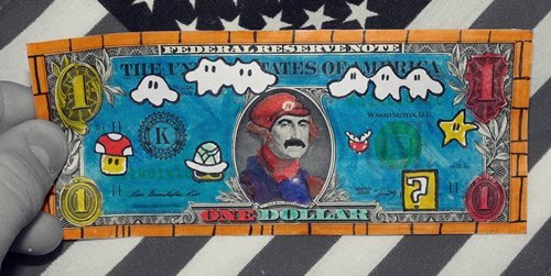 america, colourful, creative, cute, dollar, mario, nintendo, one, photography, stars and stripes