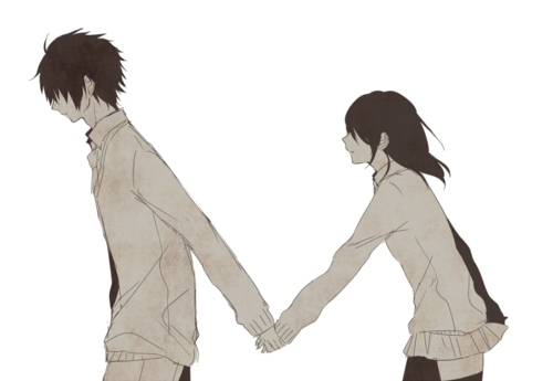 anime, black and white, couple, manga